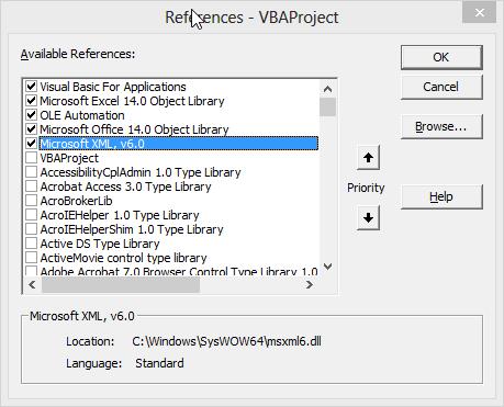 Unselect Microsoft XML, v6.0